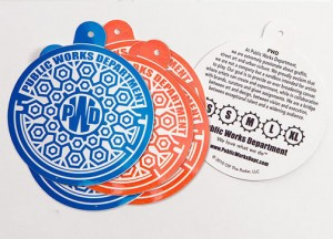 eric wiltfong - Sticker hang tag with backprint