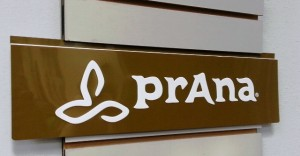 Prana slat wall sign